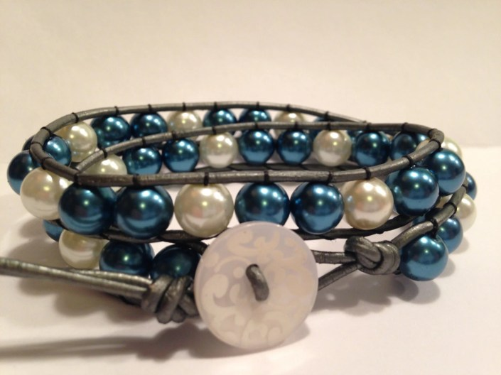 Blue & White Pearl  /  Silver Leather -  Double Wrap Glass Bead Bracelet *FREE SHIPPING*
