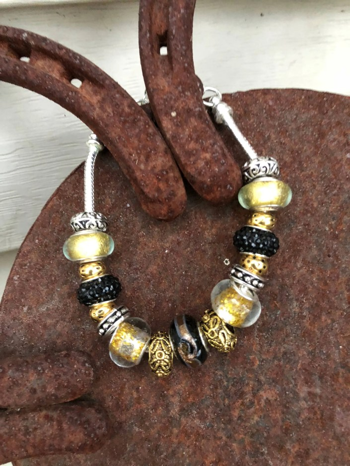 Black & Gold European Style Lampwork Glass Bead Bracelet