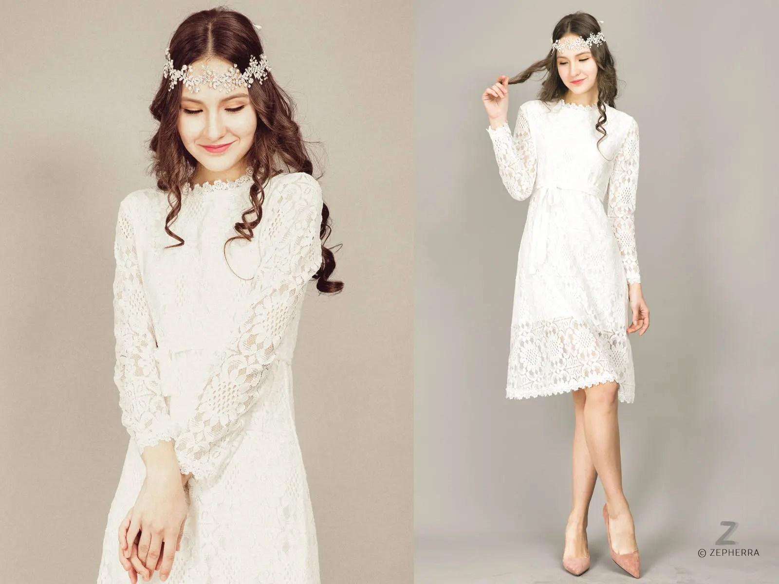 Short Wedding Dress/ Long Sleeve Lace Wedding Dress/ Boho