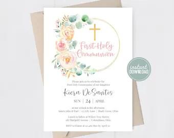 1st communion invitations etsy