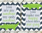 You Are My Sunshine Alligator Boy's Nursery Print Set | 10x13 & 8x10 | Set of 2 | Print-It-Yourself | Digital Download | Printable | Custom