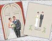 Personalized Illustrated Bride & Groom Art | Framed Art Wedding Gift/Bridal Shower Gift | Digital Download Printable PDF | Custom Portrait
