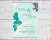 Mermaid Kisses & Starfish Wishes Mermaid Birthday Party Invitation | 5x7 Invitation | Printable Digital Download | Kid's Birthday Invitation