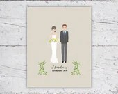 Personalized Illustrated Bride & Groom Art | Framed Art Wedding Gift/Bridal Shower Gift | Digital Download Printable PDF | Custom Portrait