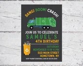 Bang! Boom! Crash! Garbage Truck Raccoon Birthday Party Invitation | 5x7 Invitation | Printable Digital Download | Kid's Birthday Invitation