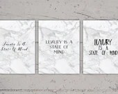 Luxury Is A State Of Mind | White Marble Wall Art | 8x10 | Print-It-Yourself | Digital Download | Printable Home Decor