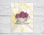 Watercolor Teacup & Roses Hand Drawn Print |  Bridal Shower Gift, Tea Time Party, Home Decor | Digital Download | Print It Yourself