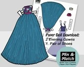 Fancy Dresses for Paper Dolls- Activity Sheets for Kids- Cut Out Doll- Fashion Dress Up Doll