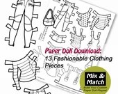 Paper Doll Fashion Coloring Page- Paper Doll Download- Printable Paper Doll Clothing- Coloring Page- Dress Up Doll- Paper Doll To Print