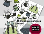 Steampunk Paper Doll- Mix & Match Digital Paper Doll Clothing Download- Printable Paper Doll Coloring Page- Steampunk Doll