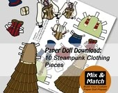 Steampunk Paper Doll- Mix & Match Digital Paper Doll Clothing Download- Printable Paper Doll Coloring Page- Steampunk Paper Doll Fashions
