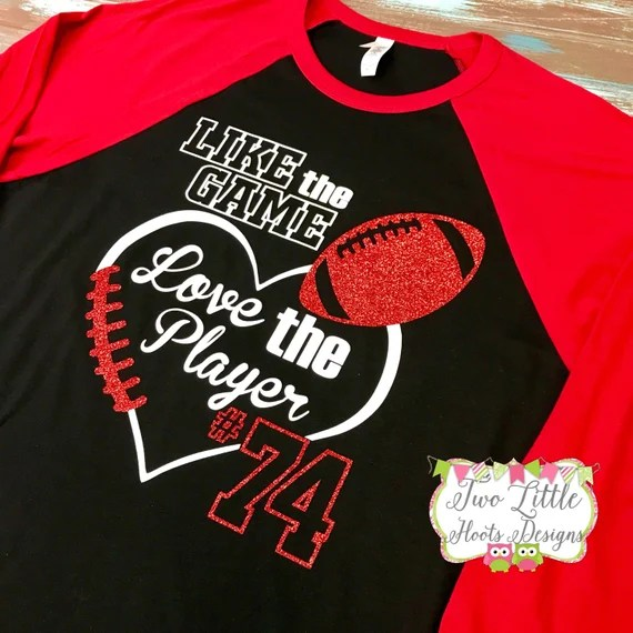 Download Like the Game Love the Player Football Shirt Glitter   Etsy