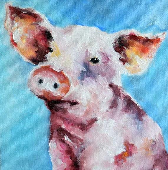 Kết quả hình ảnh cho tranh lợn màu nước
