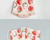 Preorder Strawberry 3D Mask Cover and Case Bundle ~Adult Kid Oxford Cotton Mask ~ Japanese Cotton Mask ~ Reusable Mask Cover ~ Washable Mask