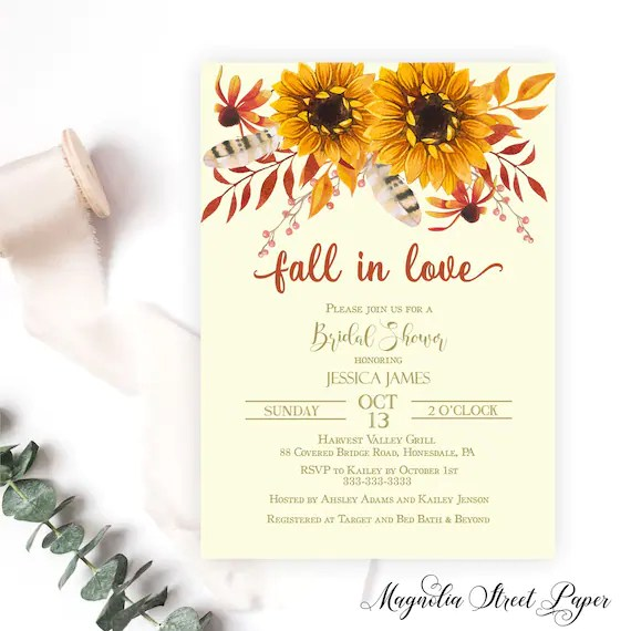 While everyone may be looking forward to the big day, there are plenty of other celebrations that shouldn't be forgotten, namely the bridal shower. Fall In Love Bridal Shower Invitation Autumn Sunflower Etsy
