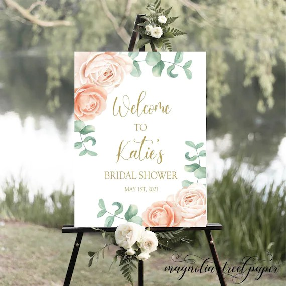 peach bridal shower welcome sign