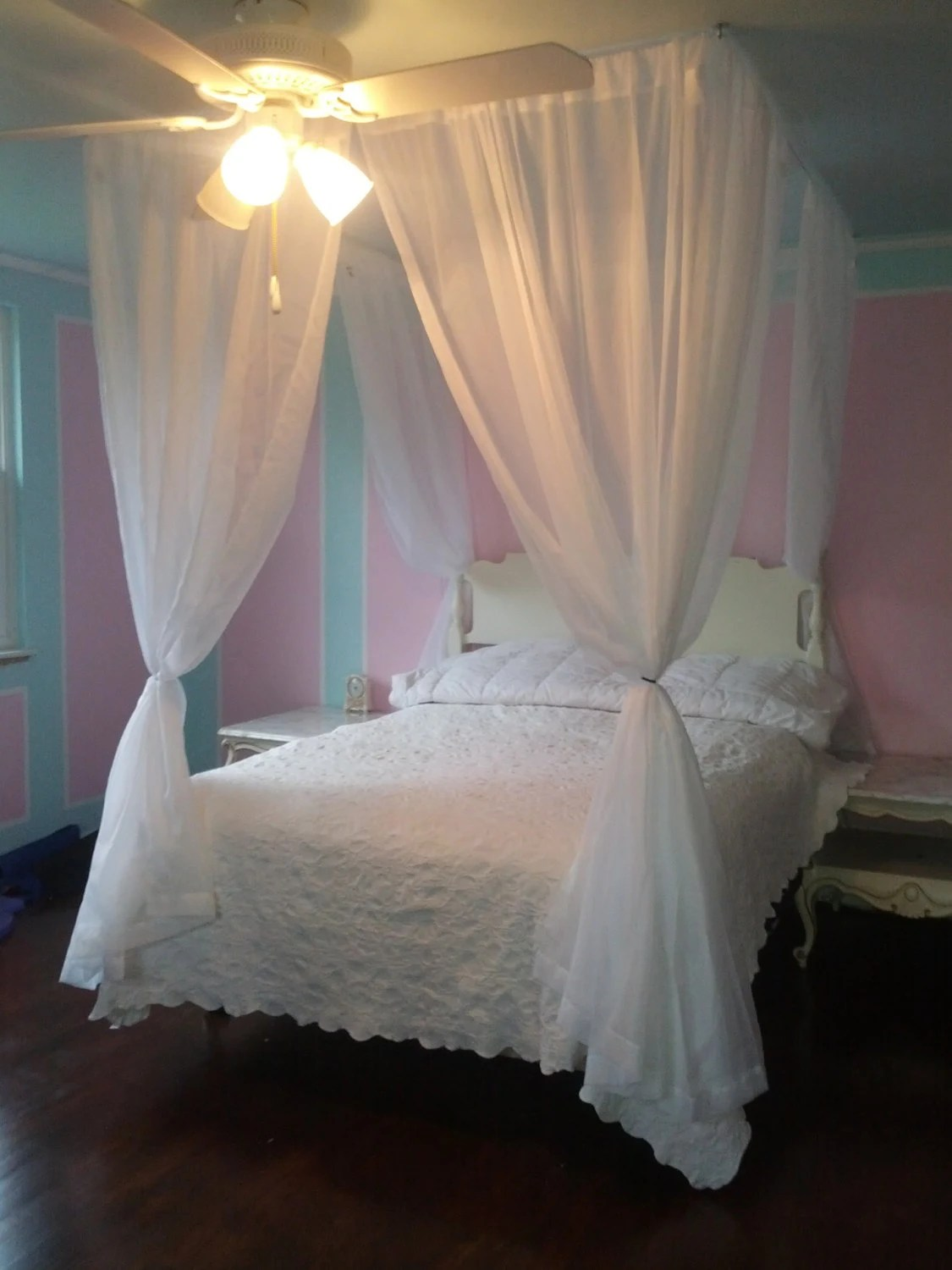 full size canopy kit custom four poster bed hanging curtain rod frame shabby chic bedroom drapery hardware princess suspended tent crown