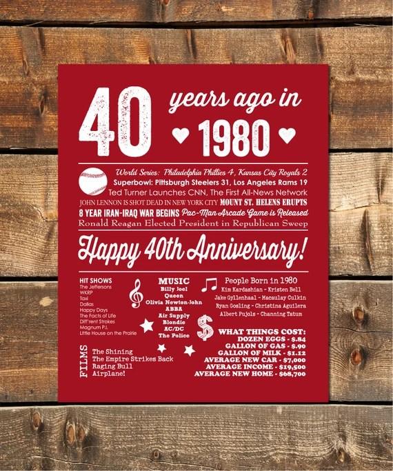40th Wedding Anniversary Gift 40th Anniversary Decorations Etsy