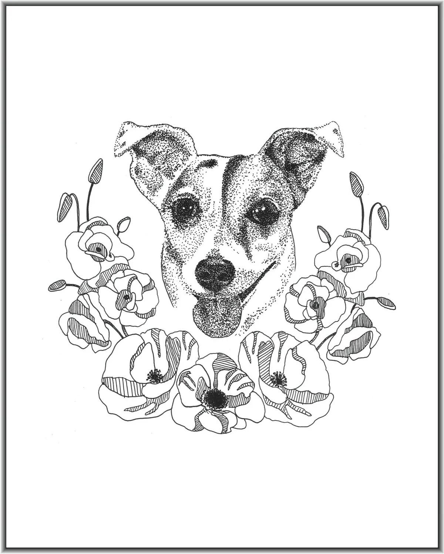 Jack Russell Terrier Pet Portrait Pen And Ink Floral