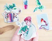 STICKER PACK - Watercolor planner stickers 5pc , hand drawn cat, plant, bird, nature inspired illustration , bujo stickers