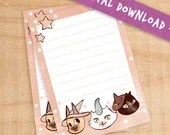 Printable Magikitty Notes - Three friends download note pad