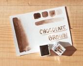 CHOCOLATE BROWN - Half pan handmade watercolor - Aquarelle maison