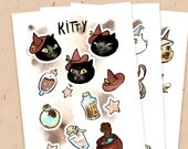 PAPER STICKER SHEET - Kitty's essential magic items