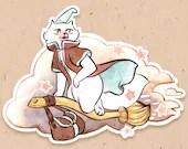 VINYL STICKER - Fluffy the wizard flying on his broom