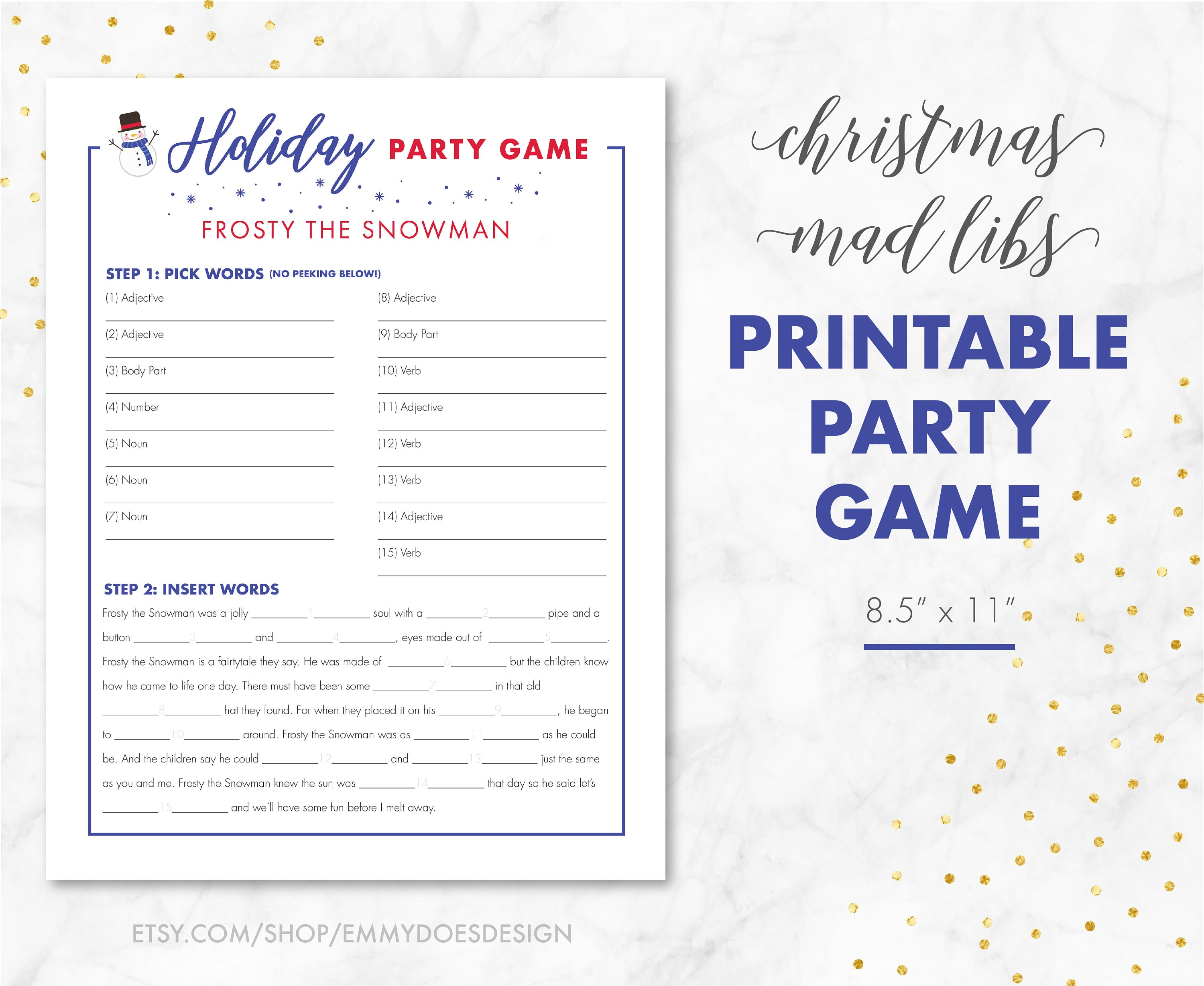 Christmas Party Game Christmas Mad Libs Adult Xmas Game
