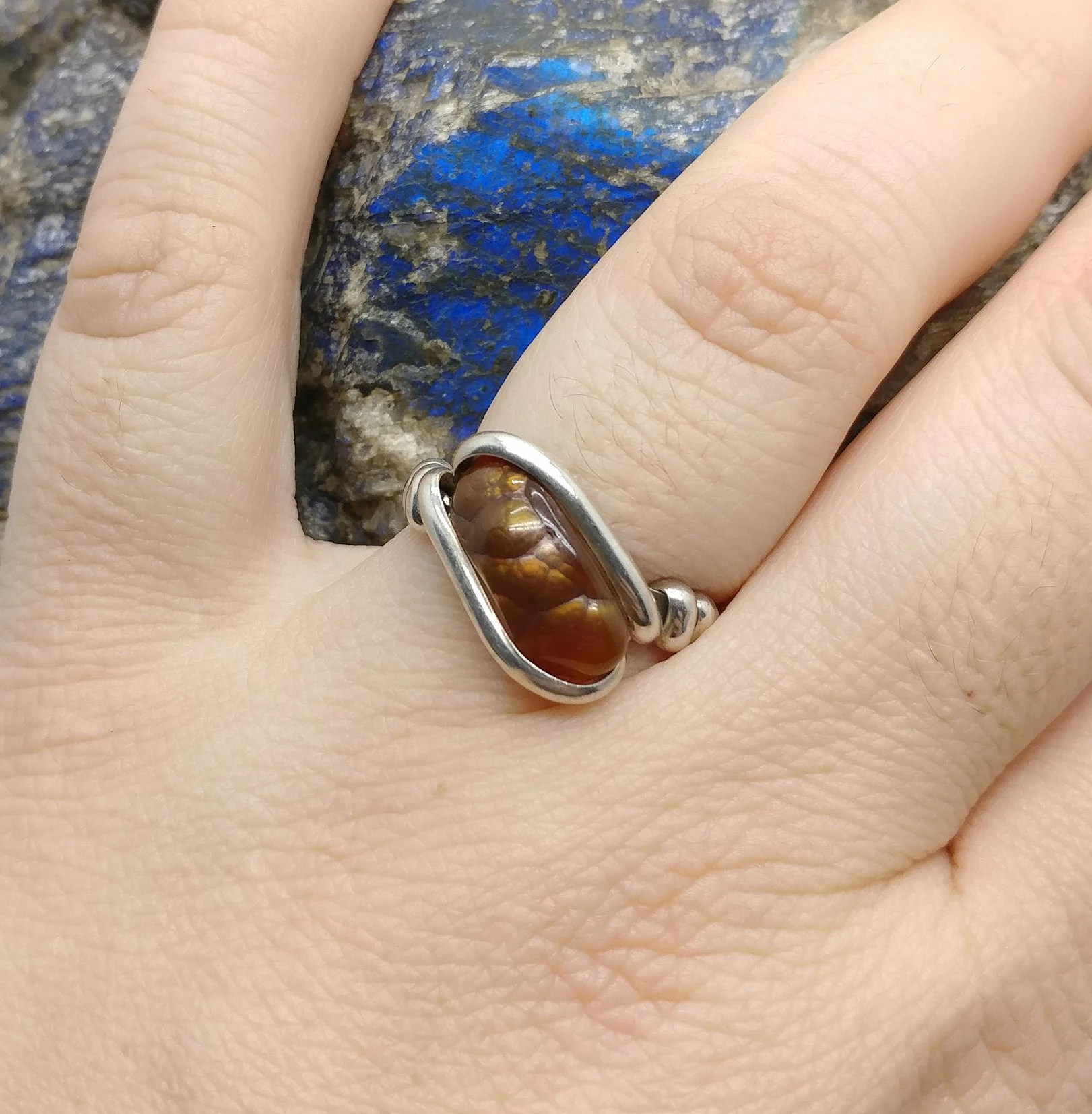 Rainbow Fire Agate Ring In Hammered Sterling Silver Sz 8 5