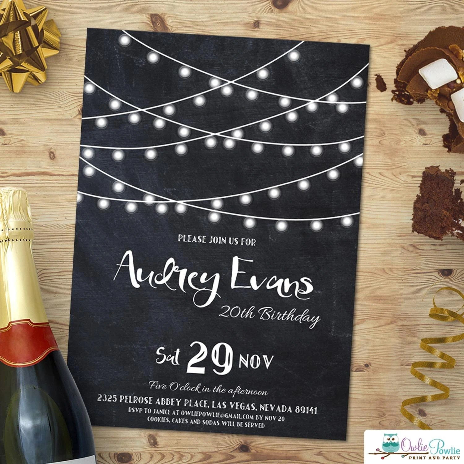 string light invitation editable