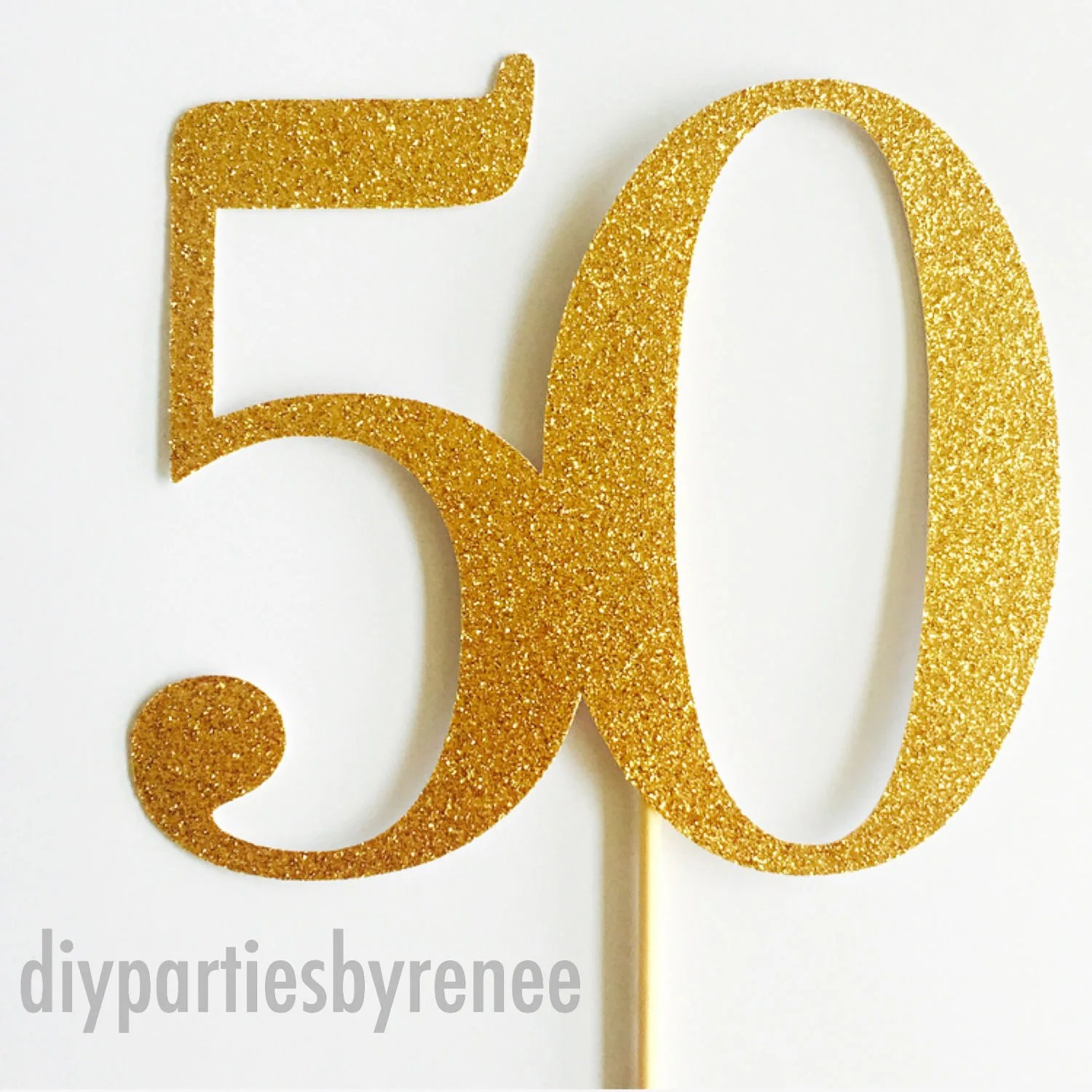 Number 50 Cake Topper 50th Birthday Happy 50th Fifty