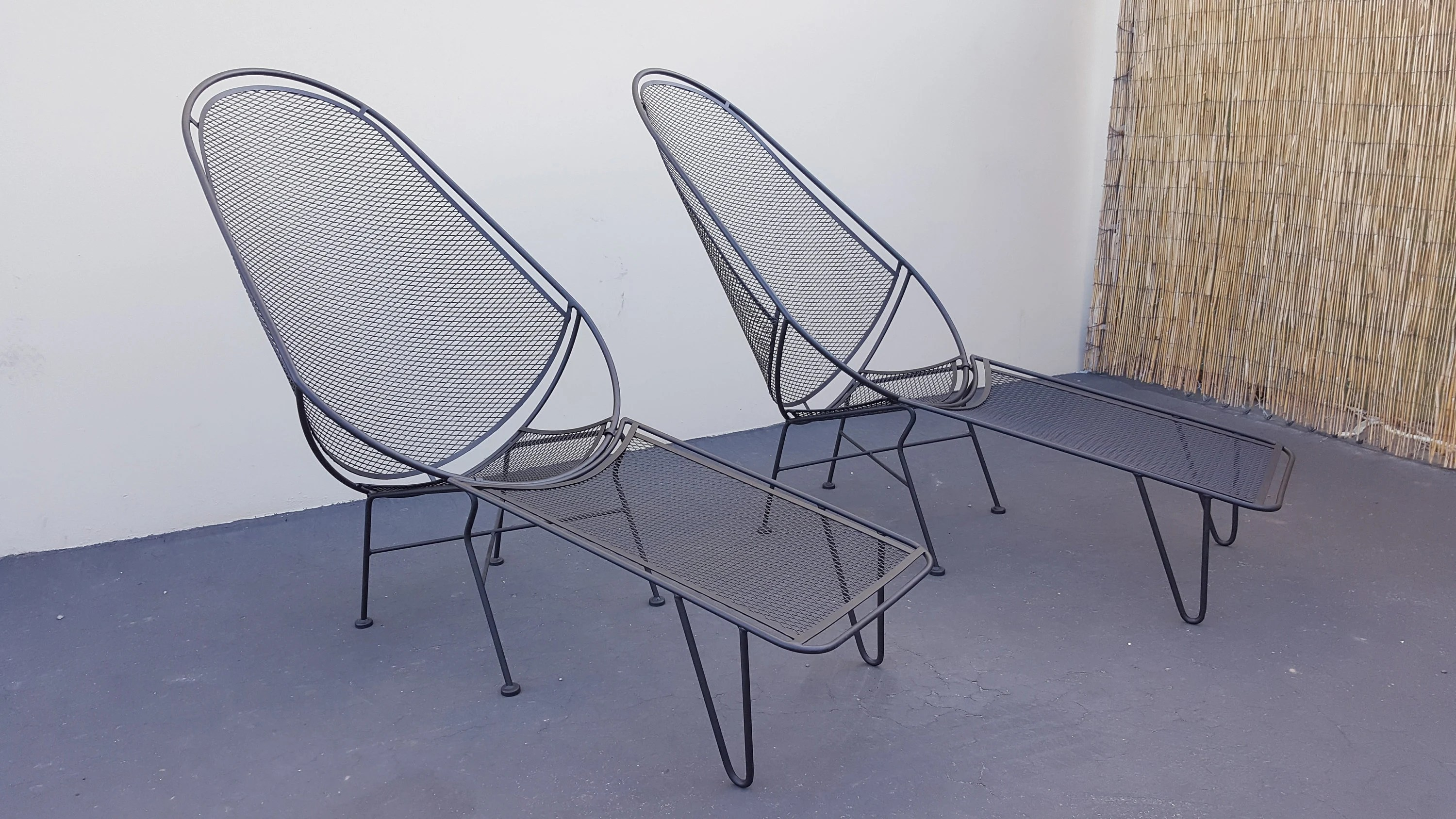 salterini high back lounge chairs 2 2pc set salterini lounges with footrests umanoff keal wrought iron lounge chairs patio set mid century