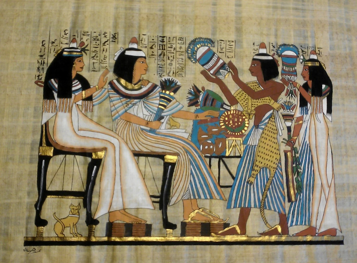 Vintage Egyptian Hand Painted Papyrus Of The Flower Girls
