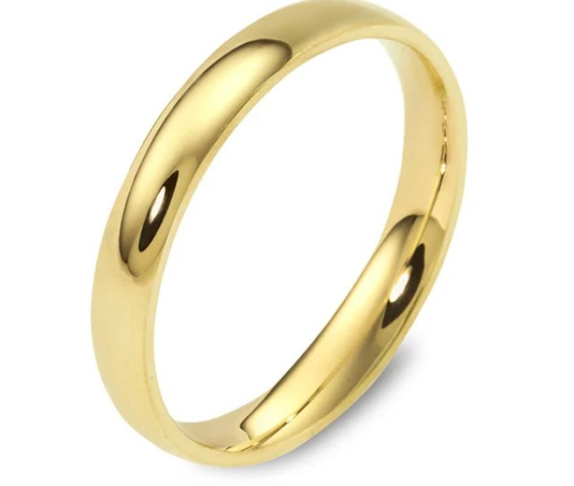 K Solid Yellow Gold Wedding Band Mm Plain Polished Rounded Dome Comfort Fit Mens Womens Wedding Ring Simple Free Laser Entgrave