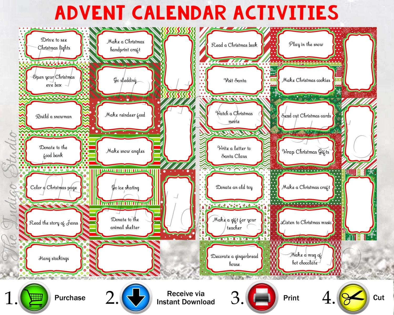 Advent Calendar Printable Activities Instant Download