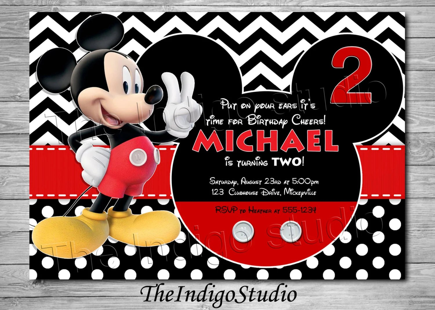mickey mouse 2nd birthday invite card age two personalized invitation you print