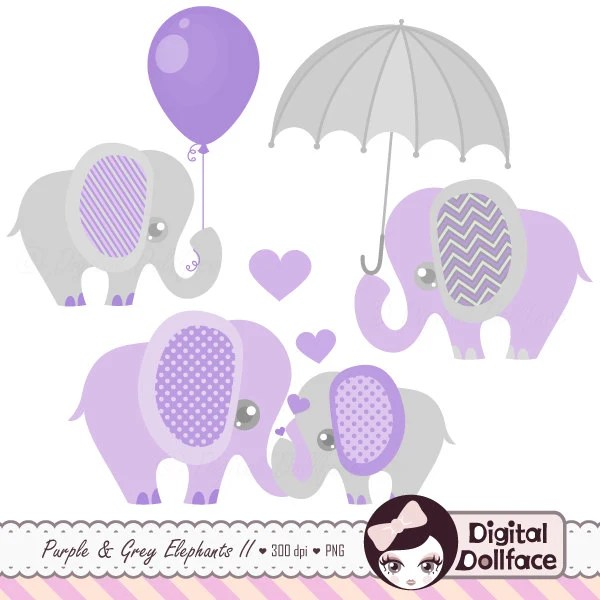 Purple and Grey Baby Shower Elephants Clipart Digital | Etsy