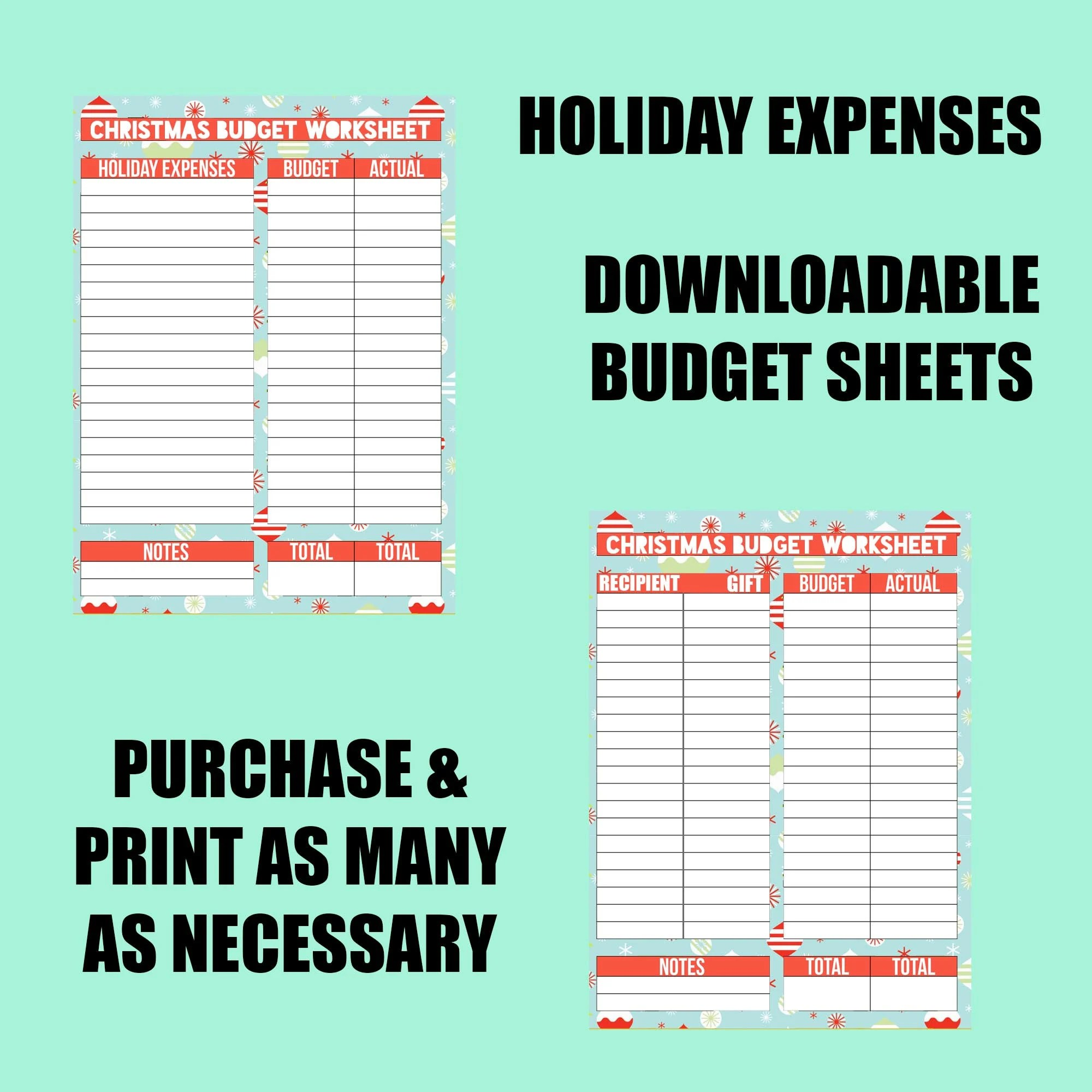 Holiday Budget Expenses Worksheet