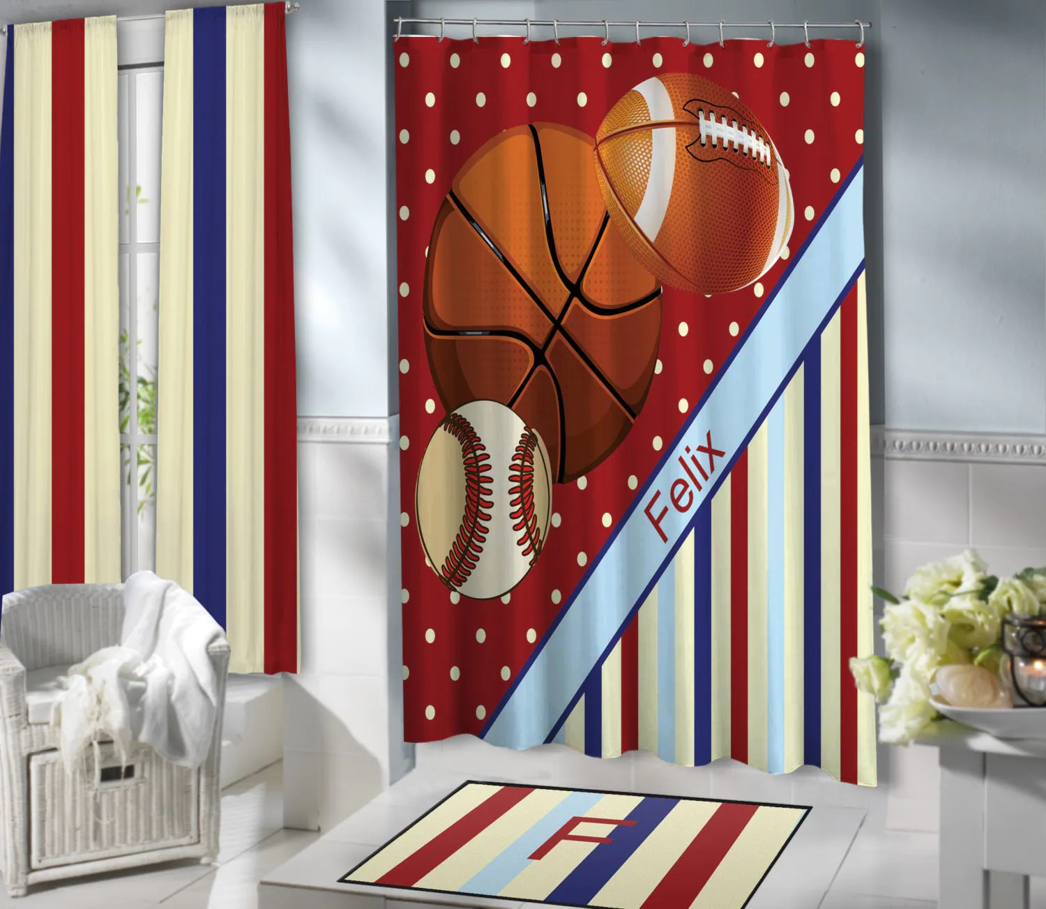 Red Sports Shower Curtains For Kids Basketball Football Baseball Shower Curtain Teen Boys Striped Shower Curtain Polyester Fabric 152