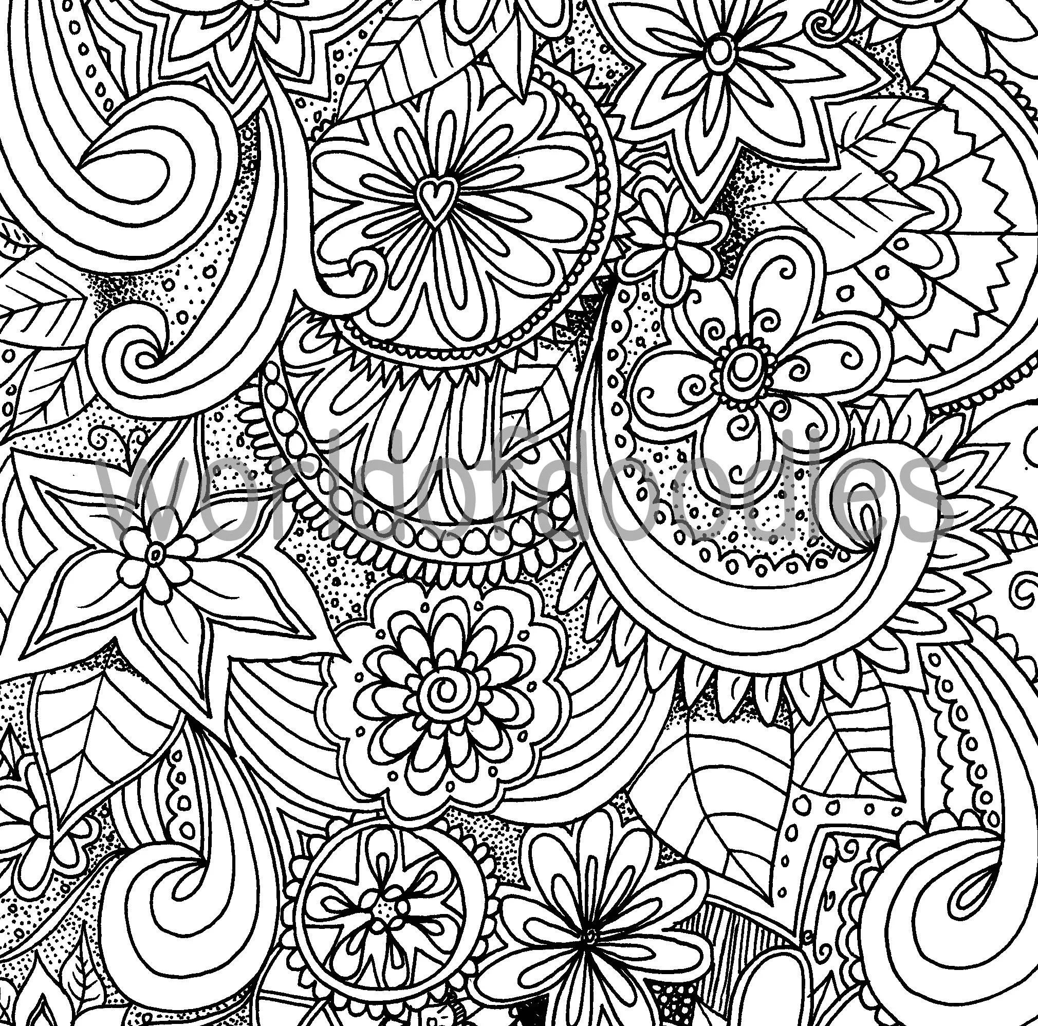 Flower Garden 2 A4 Colouring Page Printable Download
