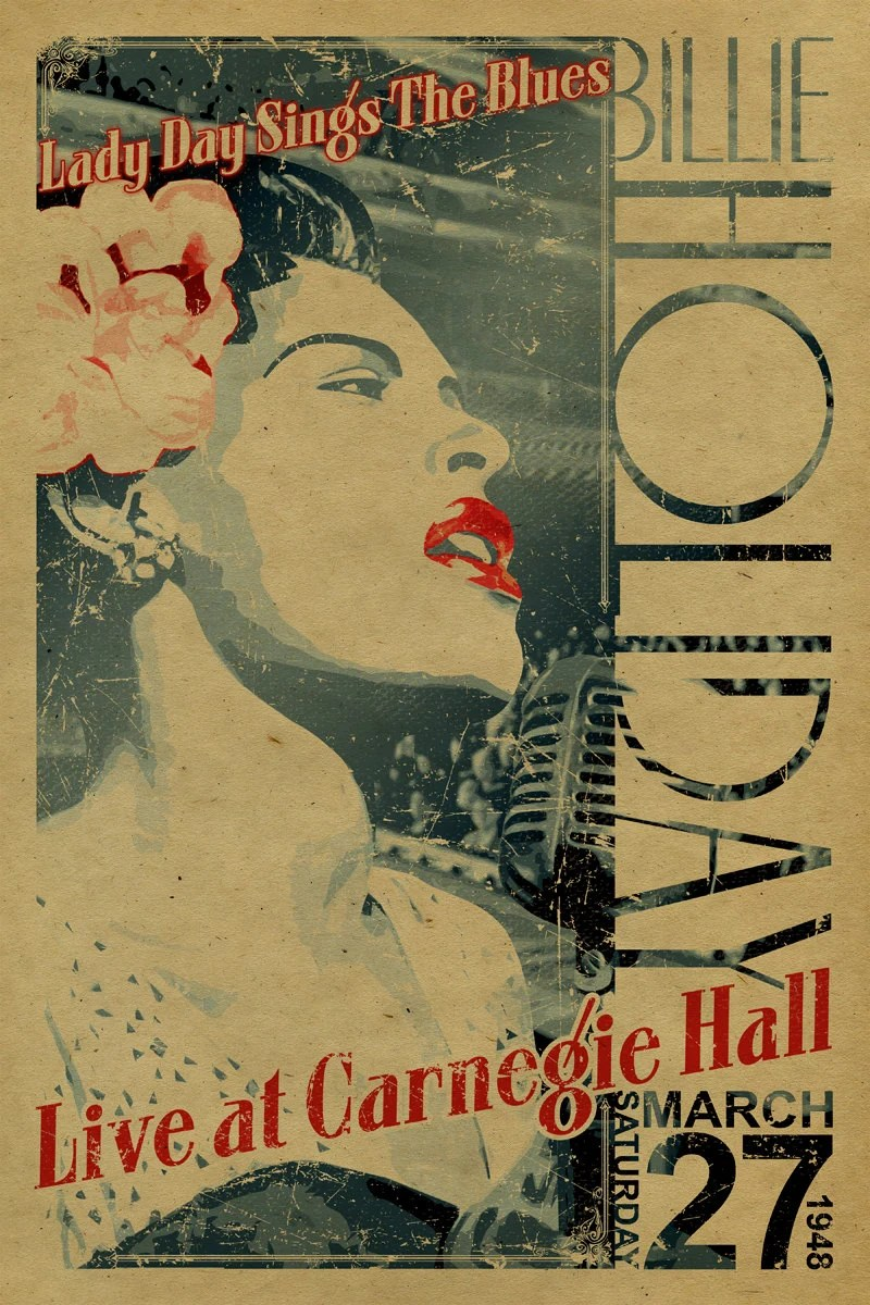 billie holiday poster lady day sings the blues live at carnegie hall march 27 1948 12x18 jazz music kraft paper art new york