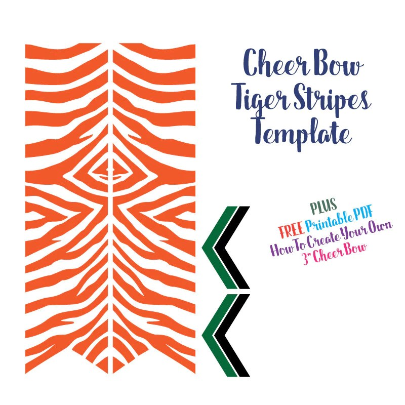 Cheer Bow Template Tiger Stripes For Vinyl Heat Transfer