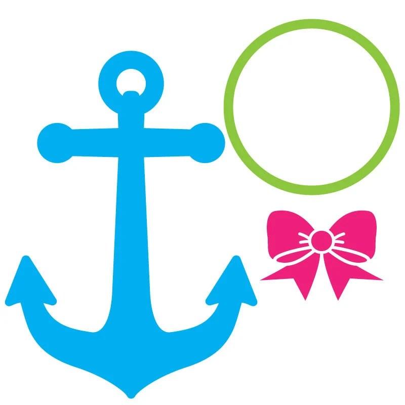 Download Anchor Bow SVG, anchor svg, preppy monogram svg, bow svg ...