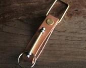 Keychain 01 / Natural  Genuine Leather, Key Holder, Key Fob, Leather Strap,