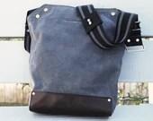 Bike Messenger Bag / Small (Gray) , Waxed Canvas, Leather, Crossbody, Bike Bag, Cycling Bag, Handmade Shoulder Bag, Work Bag, Cyclist