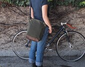 Messenger Bag / Small (Green)  Waxed Canvas, Leather, Crossbody, Bike Bag, Cycling Bag, Handmade Shoulder Bag, Work Bag, Cyclist