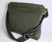 Messenger Bag / Large (Green)  Waxed Canvas, Leather, Crossbody, Bike Bag, Cycling Bag, Handmade Shoulder Bag, Work Bag, Cyclist