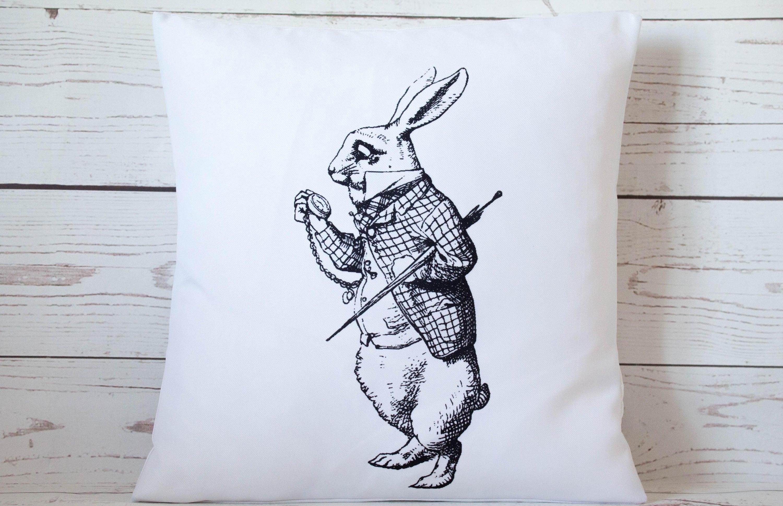 White Rabbit Time 16 Alice In Wonderland Cushion