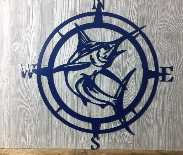 Metal Marlin Compasswall Art Nautical Metal Wall Art Nautical